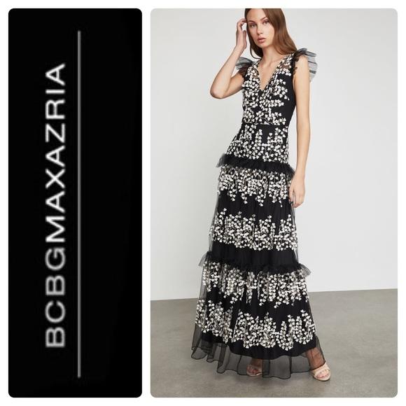 3821907bad New BCBGMAXAZRIA Floral Vine Applique Gown Black